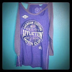 Blue distressed Affliction shirt